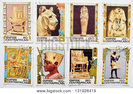 Uzhgorod, Ukraine - Circa May, 2016: Collection Of Postage Stamps Printed In The Central African Emp