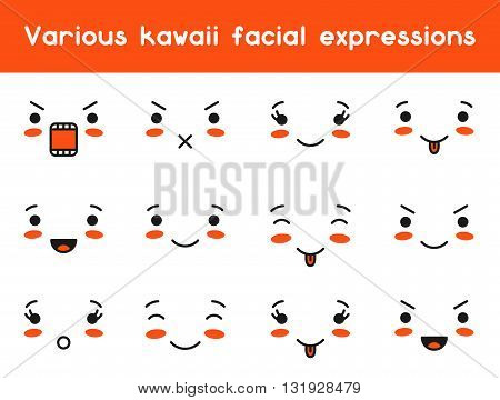 Set of kawaii doodle various facial expression.