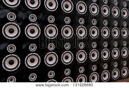 3D Computer rendering a big Loudspeaker Wall in black