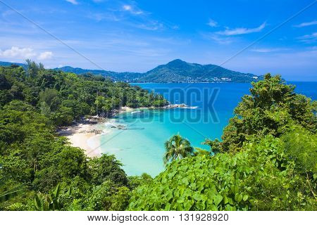 Great view on Laem Sing beach in Phuket Thailand