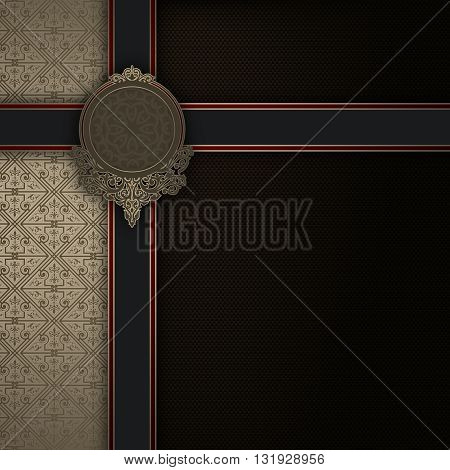 Luxury vintage background with elegant frameblack ribbons decorative ornament and copy space for the text.