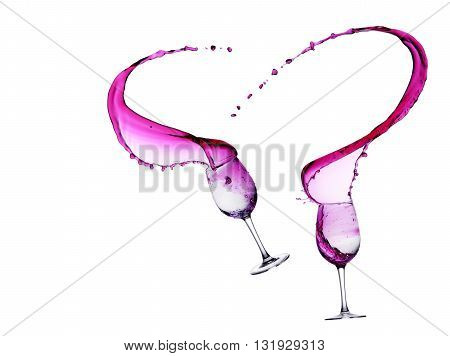 Red Wine Abstract Splashing two glass drops