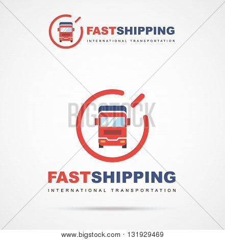 Vector logo of fast delivery van in two colors. International transportation. Illustrations cargo van