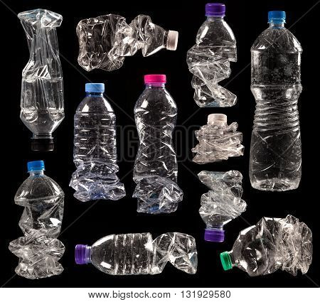 variety of compressed plastic bottles isolated on black background