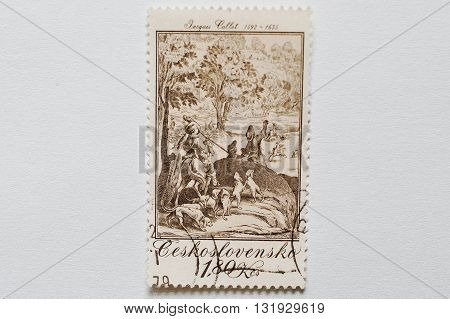 Uzhgorod, Ukraine - Circa May, 2016: A Post Stamp Printed In Czechoslovakia Shows The Large Hunt, Pa