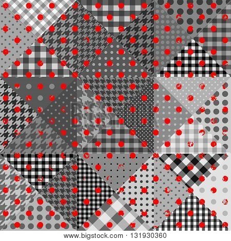 Vector abstract seamless patchwork pattern from triangles with polka dot ornaments.