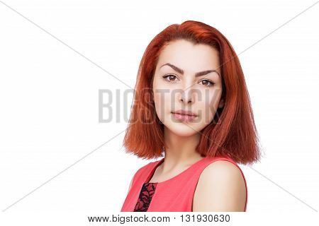 Close-up portait of beautiful woman with red hair