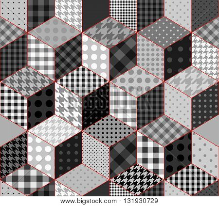 Abstract seamless background with a cube decoration in patchwork style