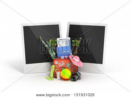 travel concept blank shots with palaroida are behind a suitcase attractions and other travel Offer 3D illustrations on white background
