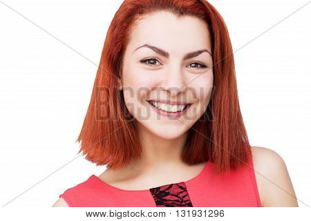 Close-up portrait of red head woman with bright smile
