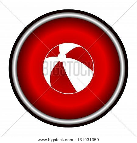 Beach ball line icon for web, mobile and infographics. Vector white icon on the red circle isolated on white background.