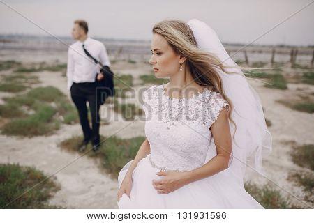 beautiful blonde couple celebrate their wedding day