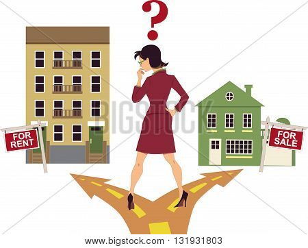 Woman standing on a crossroad, deciding to rent an apartment or to buy a house, question mark above her head, vector illustration