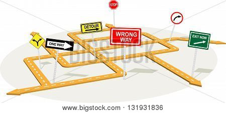 3D road junction with warning traffic signs