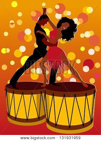 Salsa. Latin couple dancing on bongos, EPS8 vector illustration