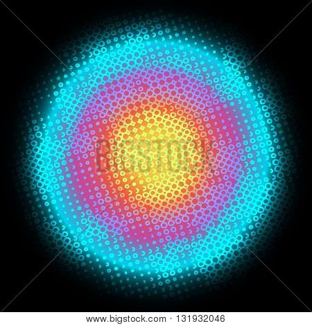Digital Round multicolored background with dots, rings, circles, swirls. In the dark.