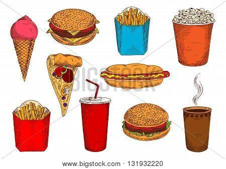 Blue and red boxes of take away french fries sketch icons with hamburger, cheeseburger and hot dog sandwiches, pizza topped with salami and vegetables, cups of coffee and soda, strawberry ice cream cone and popcorn bucket