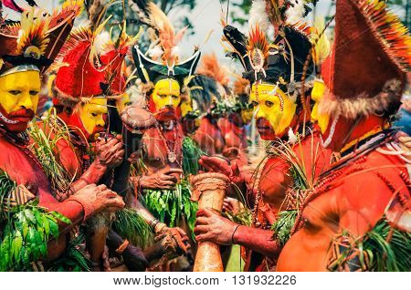 People In Colours In Papua New Guinea