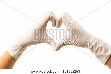 Hand with Surgical Gloves on white background medical concept