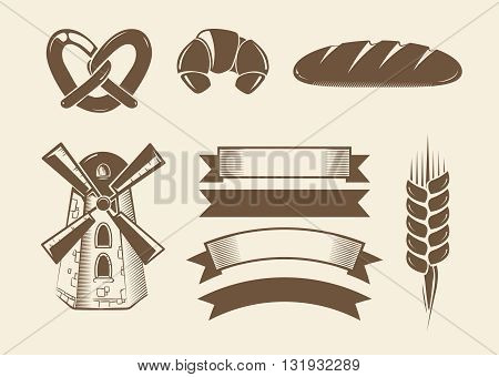 Elements for vintage vector bakery logotypes logos badges labels and emblems. Bakery element for logotype and graphic, bakery label illustration