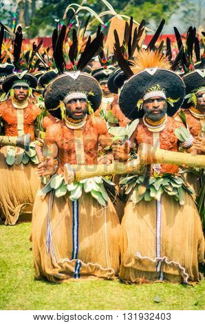 Men With Drums In Papua New Guinea