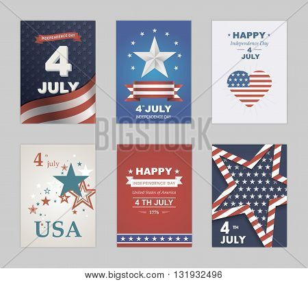 Bright vector to the Independence Day. July 4 th Celebration in America. United States of America. Symbol feast of stars blue and red background. Beautiful illustrations with typography poster