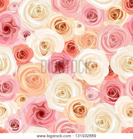 Vector seamless pattern with pink, orange and white roses and lisianthuses.