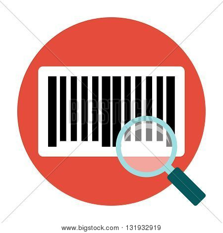 Identification barcode sticker. Magnifying barcoce sticker. Flat icon
