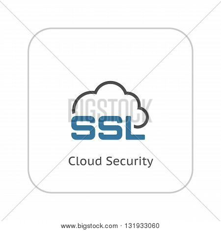 Cloud Security Icon. Flat Design Isolated Illustration.