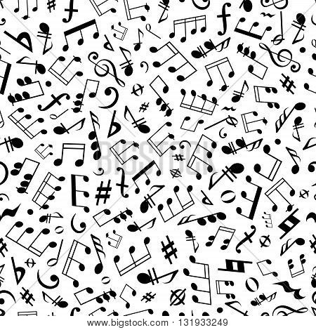 Black and white seamless musical symbols and marks background pattern with musical notes, chords and rests of different durations, treble and bass clefs, flat and sharp accidentals, coda and forte signs
