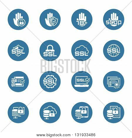 Flat Design Security and Protection Icons Set. Isolated Illustration.