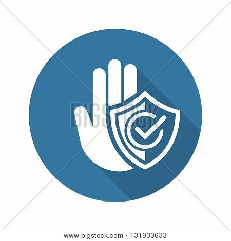 Secured Area Icon. Flat Design Long Shadow