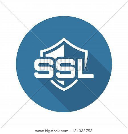 SSL Protection Icon. Flat Design Long Shadow