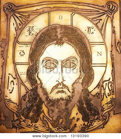 Portrait of Jesus made on metal plate