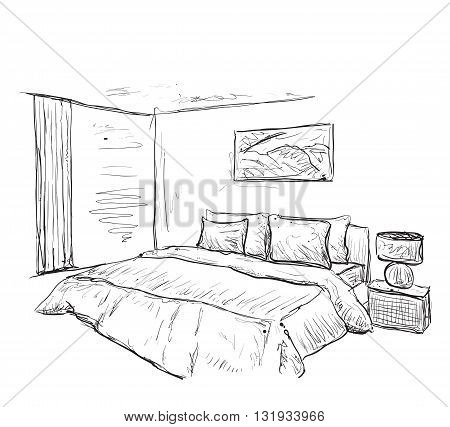 Bedroom modern interior drawing isolated on white background