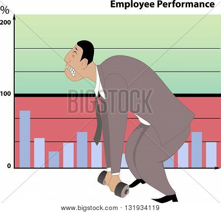 Poor job performance. Businessman unable to lift a small dumb-bell, employee performance chart on the background showing poor results