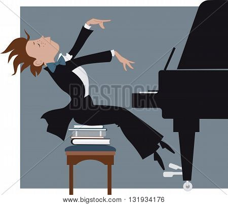 Boy expressively playing a piano, vector cartoon