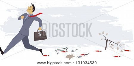 Lack of Corporate Social Responsibility. Smug businessman stepping over things leaving a bloody trail, concept vector illustration