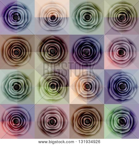 Seamless background pattern. Abstract roses on pink geometric background