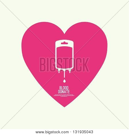 Abstract background with blood bag and heart. A blood donation. Vector image help the sick and needy. dropper with drop of blood. Icon blood bag donation with heart. Logo