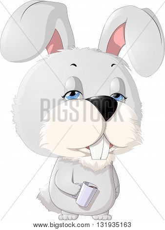 sleepy rabbit with a cup on a white background