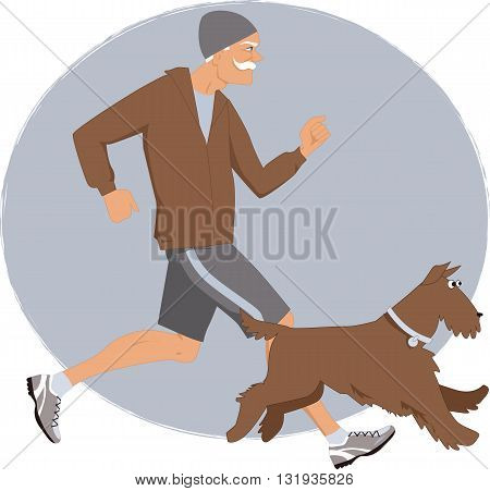Energetic elderly man jogging with his Airedale terrier dog, vector illustration