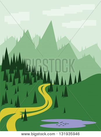 Abstract landscape with pine trees an yellow curved road purple lake green hills and mountains over a light green background with white clouds. Digital vector image.
