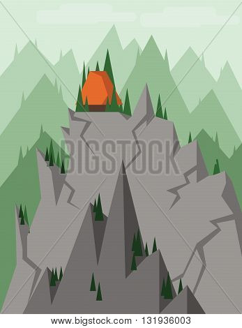 Abstract landscape with pine trees an orange house on top of silver rocks and mountains over a light background with clouds. Digital vector image.