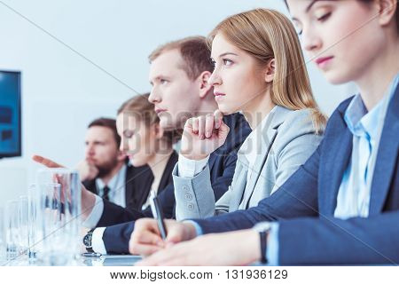 Young focus businesspeople of management on a business meeting with boss