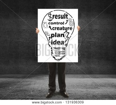 businessman holding poster with drawing bulb and business concept