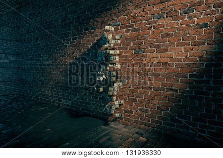 invisible girl standing near brick wall with dollar bills 3D Rendering