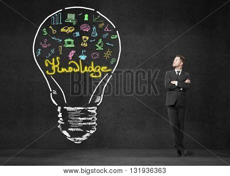 businessman looking on drawing lamp. 3D Rendering