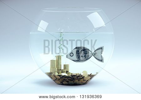 Dollar bill in form of a fish in aquarium 3D Rendering