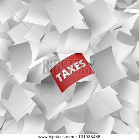 a large amount of white empty papers falling with one red with the word taxes written on it